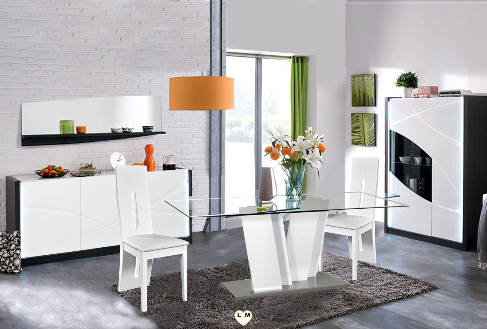 biarritz laque blanc et noir sejour salle a manger moderne. Black Bedroom Furniture Sets. Home Design Ideas