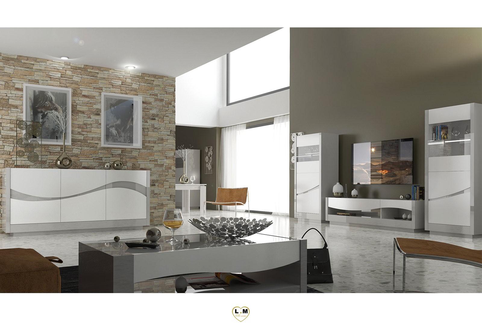 lacanou laque blanc et taupe sejour salle a manger moderne l 39 ensemble avec la vitrine le. Black Bedroom Furniture Sets. Home Design Ideas