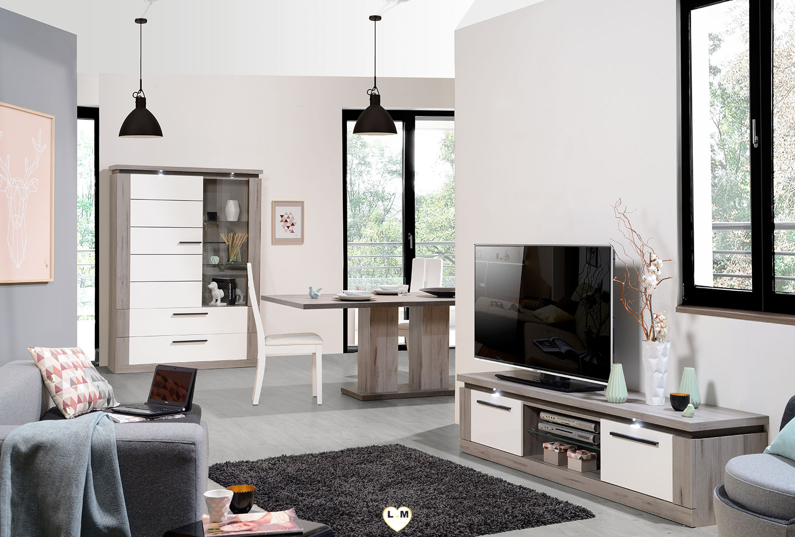 pornichet laque blanc et taupe sejour salle a manger moderne le meuble tv lignemeuble com. Black Bedroom Furniture Sets. Home Design Ideas