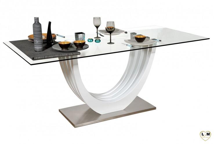 ARCACHON LAQUÉ BLANC SÉJOUR SALLE À MANGER MODERNE : La Table Repas Verre