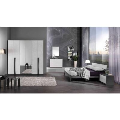CUZCO BLANC ET GRIS ENSEMBLE CHAMBRE À COUCHER MODERNE : L'Armoire 4 Portes Plaines et 2 Miroir  + Le Lit 160 + Les 2 Chevets + La Commode 4 Tiroirs + Le Miroir.