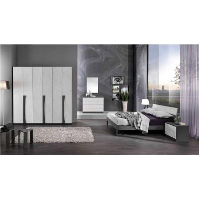 CUZCO BLANC ET GRIS ENSEMBLE CHAMBRE À COUCHER MODERNE : L'Armoire 6 Portes Battantes + Le Lit 160 + Les 2 Chevets + La Commode 4 Tiroirs + Le Miroir.