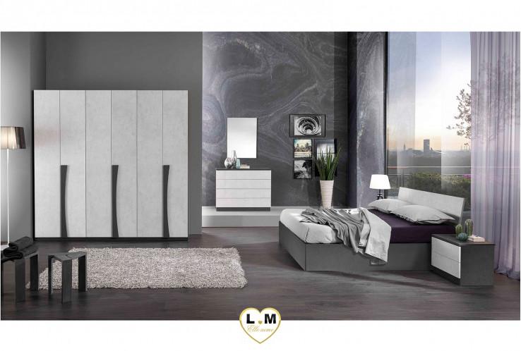 CUZCO BLANC ET GRIS ENSEMBLE CHAMBRE À COUCHER MODERNE : L'Armoire 6 Portes Battantes + Le Lit Coffre 160 + Les 2 Chevets + La Commode 4 Tiroirs + Le Miroir.