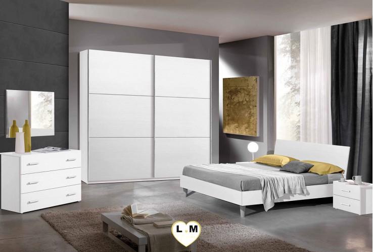 MENDOZA BLANC RAYE ENSEMBLE CHAMBRE À COUCHER MODERNE :  L'Armoire 2 Portes Culissantes avec Miroir Horizontale + Le Lit 160 + Les 2 Chevets + La Commode 4 Tiroirs + Le Miroir.