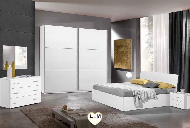 MENDOZA BLANC RAYE ENSEMBLE CHAMBRE À COUCHER MODERNE :  L'Armoire 2 Portes Culissantes + Le Lit Coffre 160 + Les 2 Chevets + La Commode 4 Tiroirs + Le Miroir.