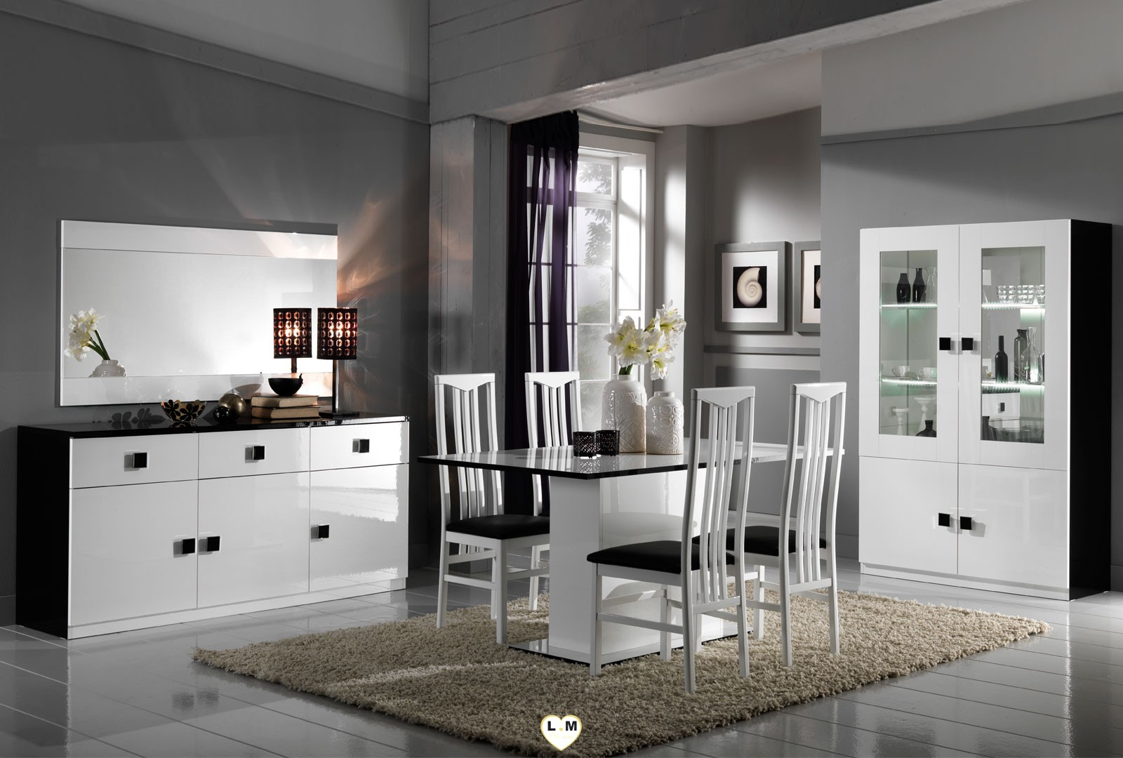 maracana laque blanc et noir sejour salle a manger moderne. Black Bedroom Furniture Sets. Home Design Ideas