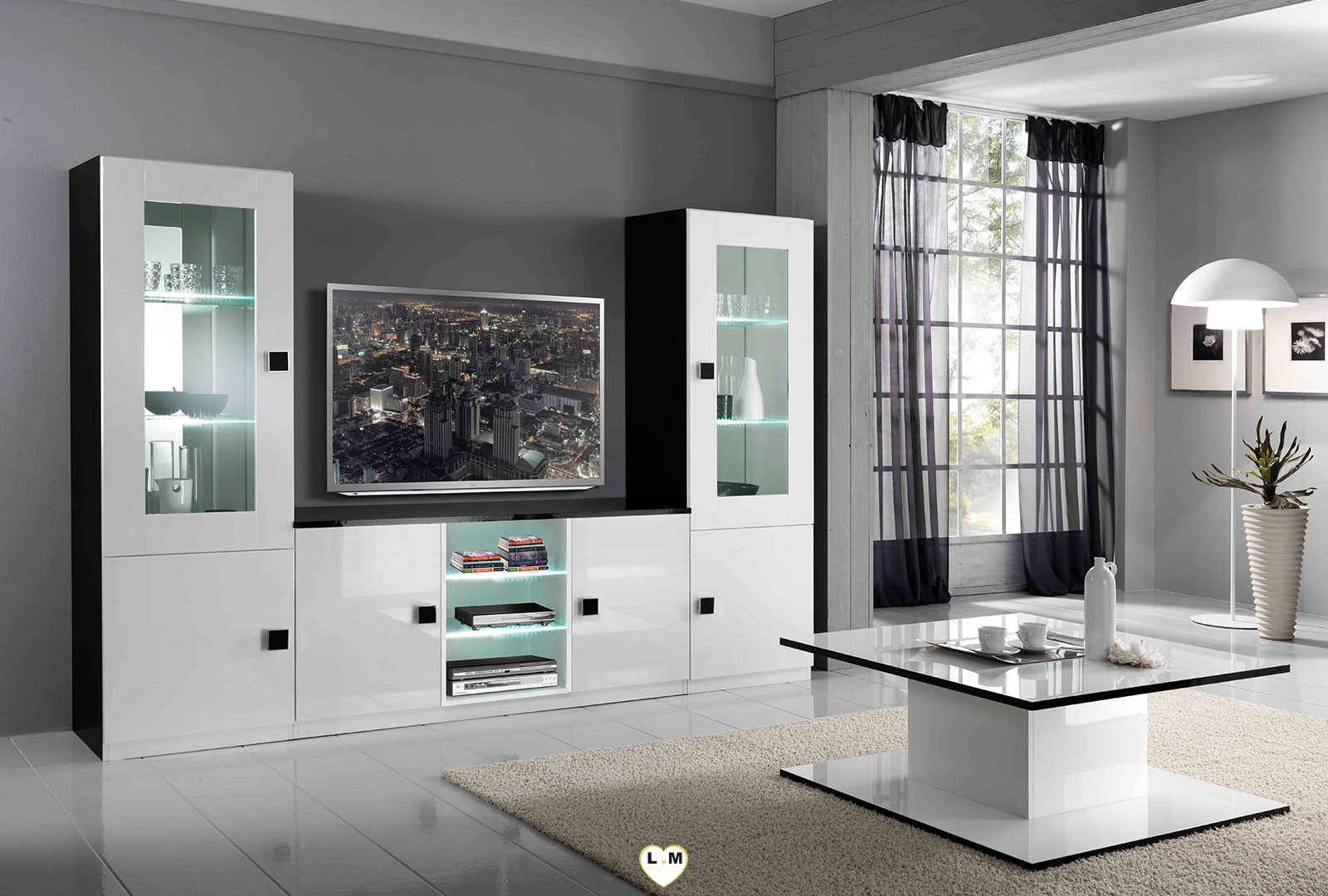 maracana laque blanc et noir sejour salle a manger moderne. Black Bedroom Furniture Sets. Home Design Ideas