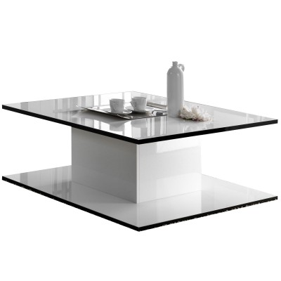 maracana laque blanc et noir sejour salle a manger moderne la table basse rectangulaire. Black Bedroom Furniture Sets. Home Design Ideas