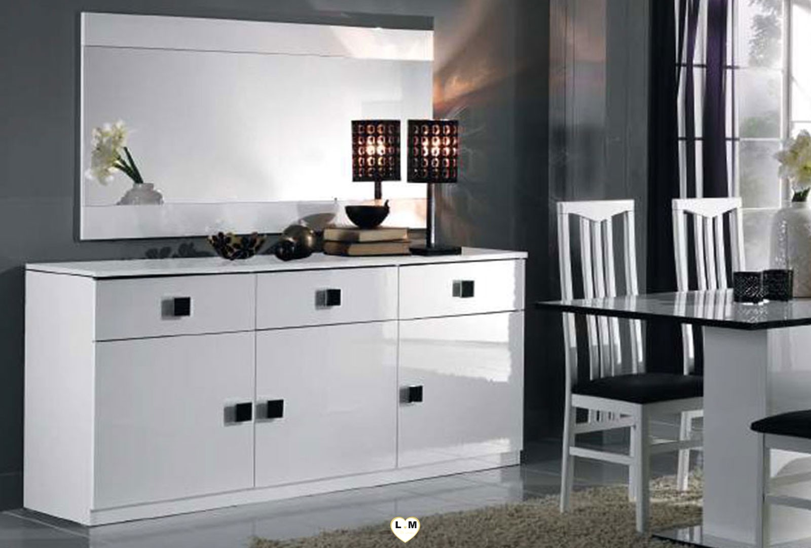 maracana laque blanc sejour salle a manger moderne le buffet lignemeuble com. Black Bedroom Furniture Sets. Home Design Ideas
