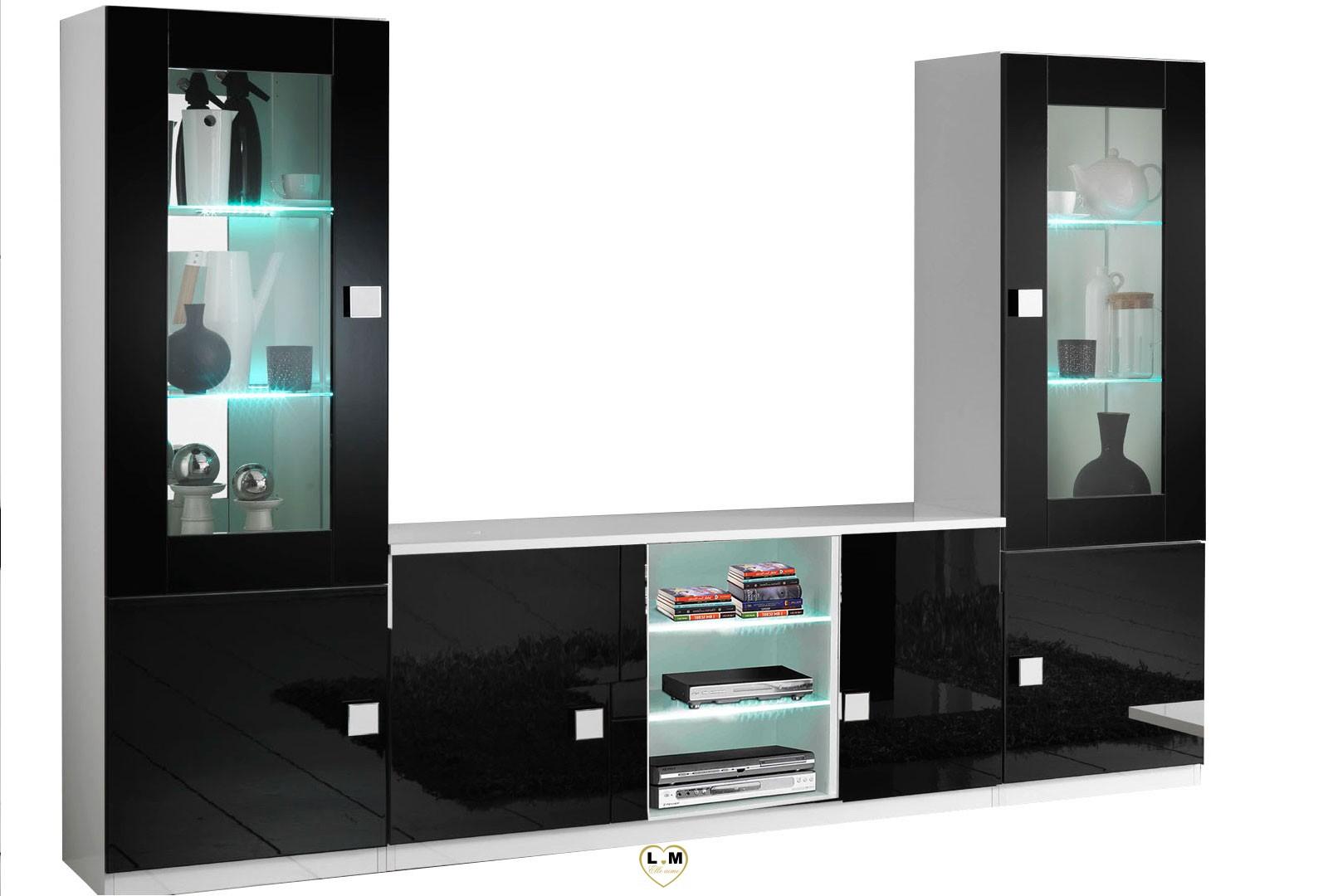 maracana laque noir et blanc sejour salle a manger moderne la composition mur tv lignemeuble com. Black Bedroom Furniture Sets. Home Design Ideas