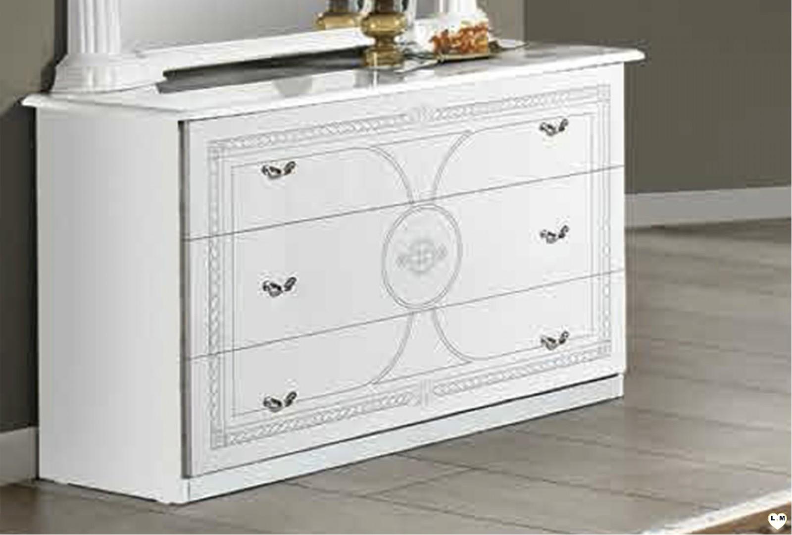 Janeiro laque blanc et argent ensemble chambre a coucher lignemeuble com for Ensemble armoire commode chambre