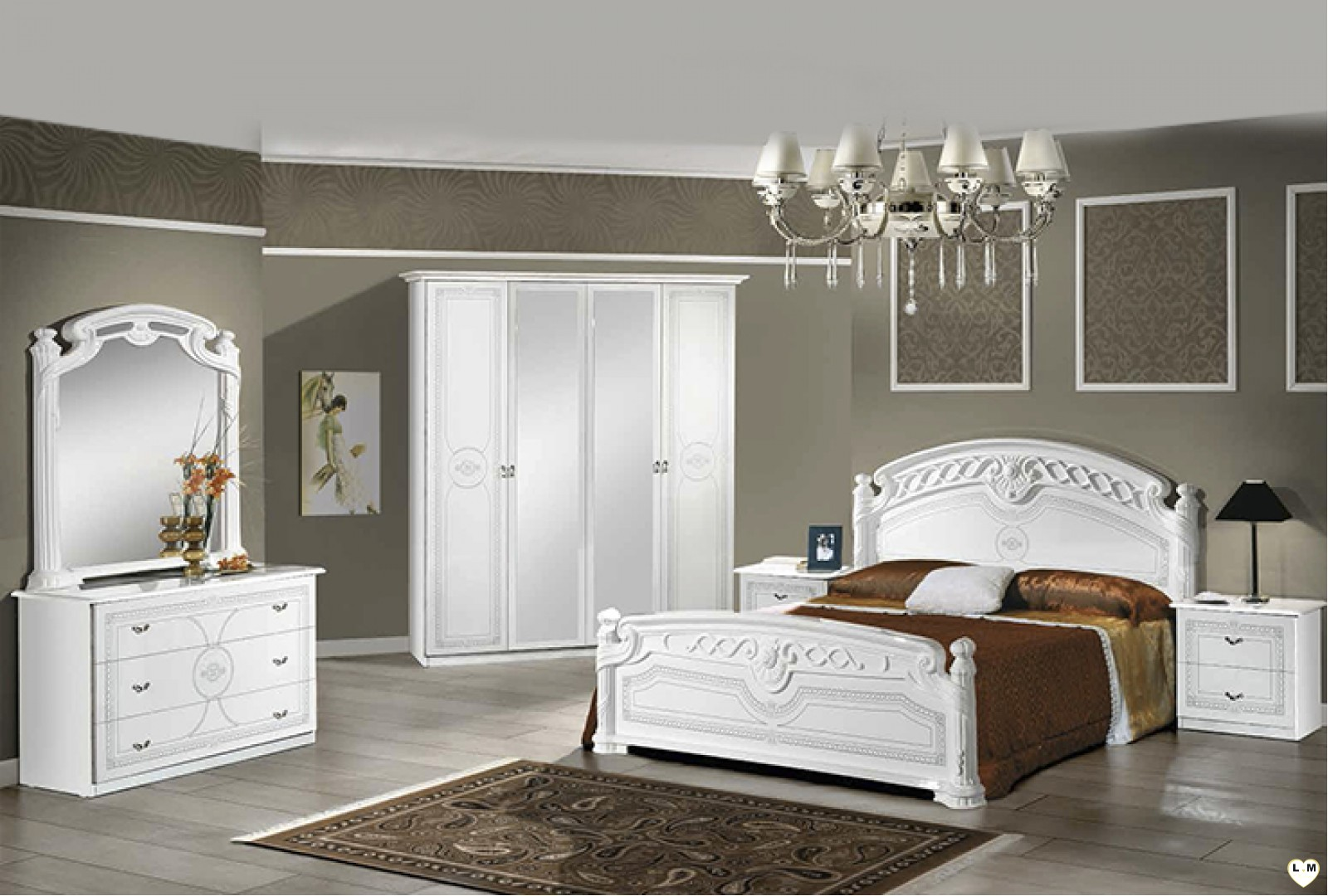 janeiro laque blanc et argent ensemble chambre a coucher. Black Bedroom Furniture Sets. Home Design Ideas