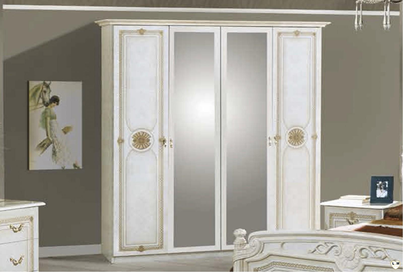 Janeiro laque blanc et dore ensemble chambre a coucher lignemeuble com - Chambre a coucher blanc laque ...