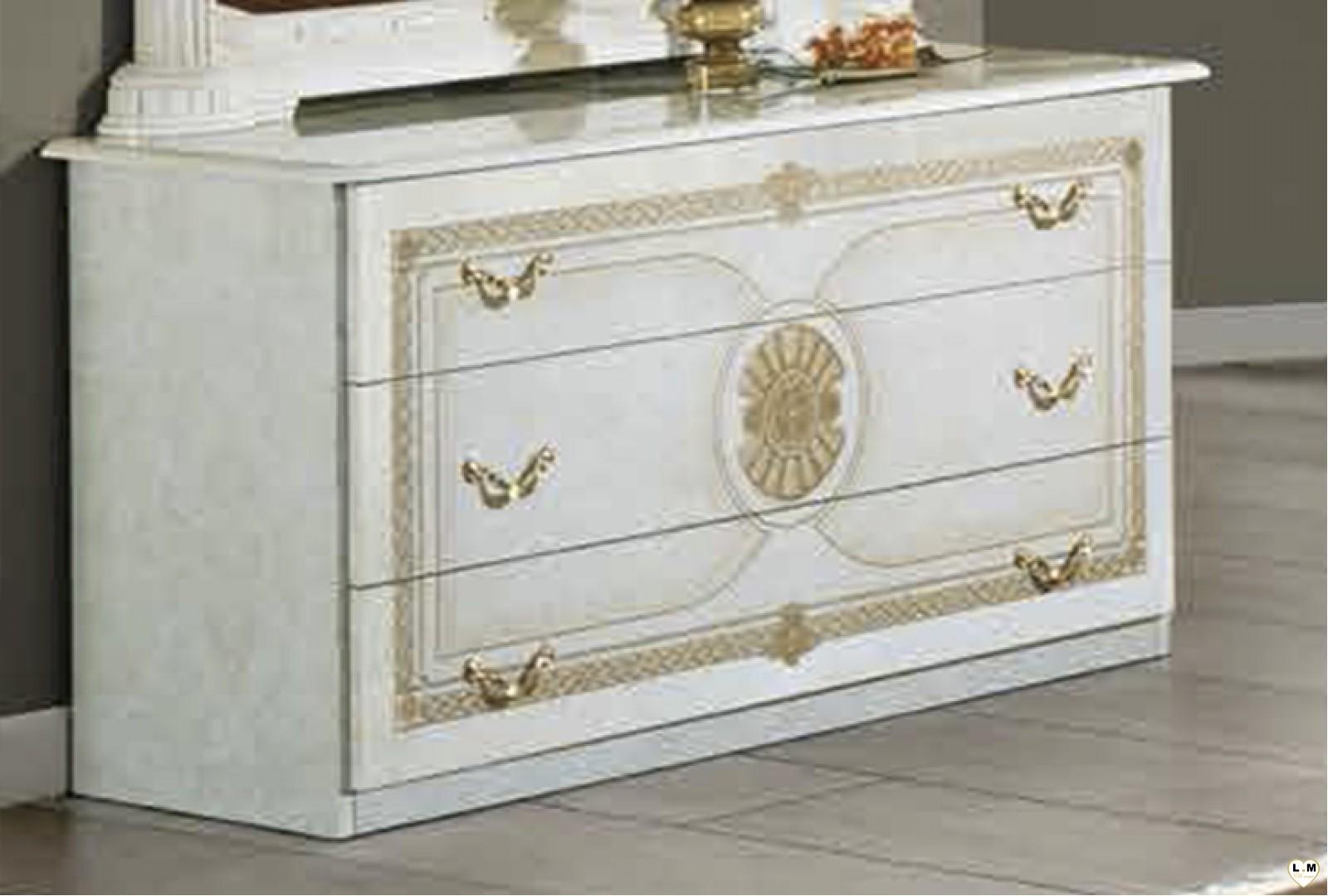 Janeiro laque blanc et dore ensemble chambre a coucher for Ensemble armoire commode chambre