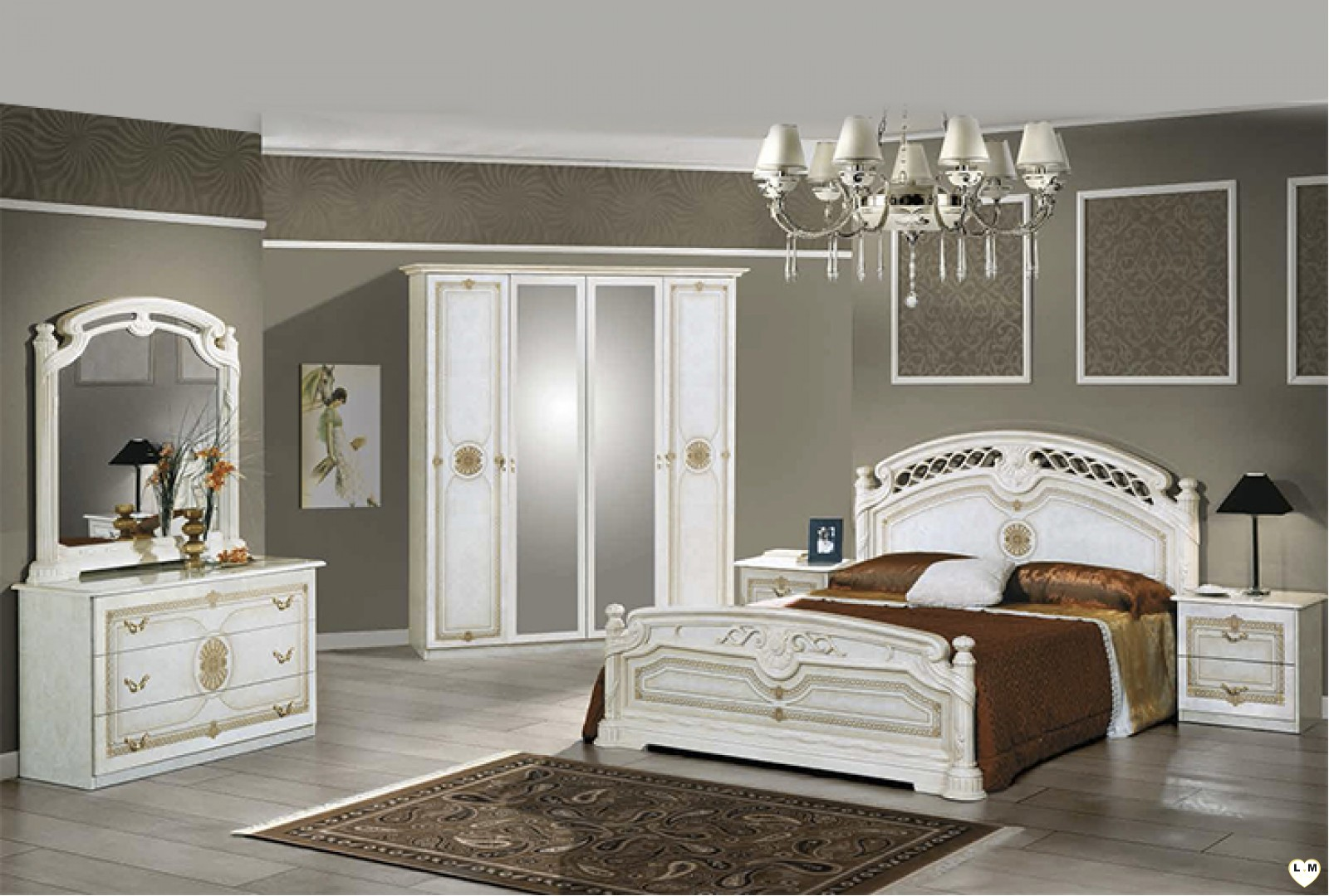 janeiro laque blanc et dore ensemble chambre a coucher. Black Bedroom Furniture Sets. Home Design Ideas