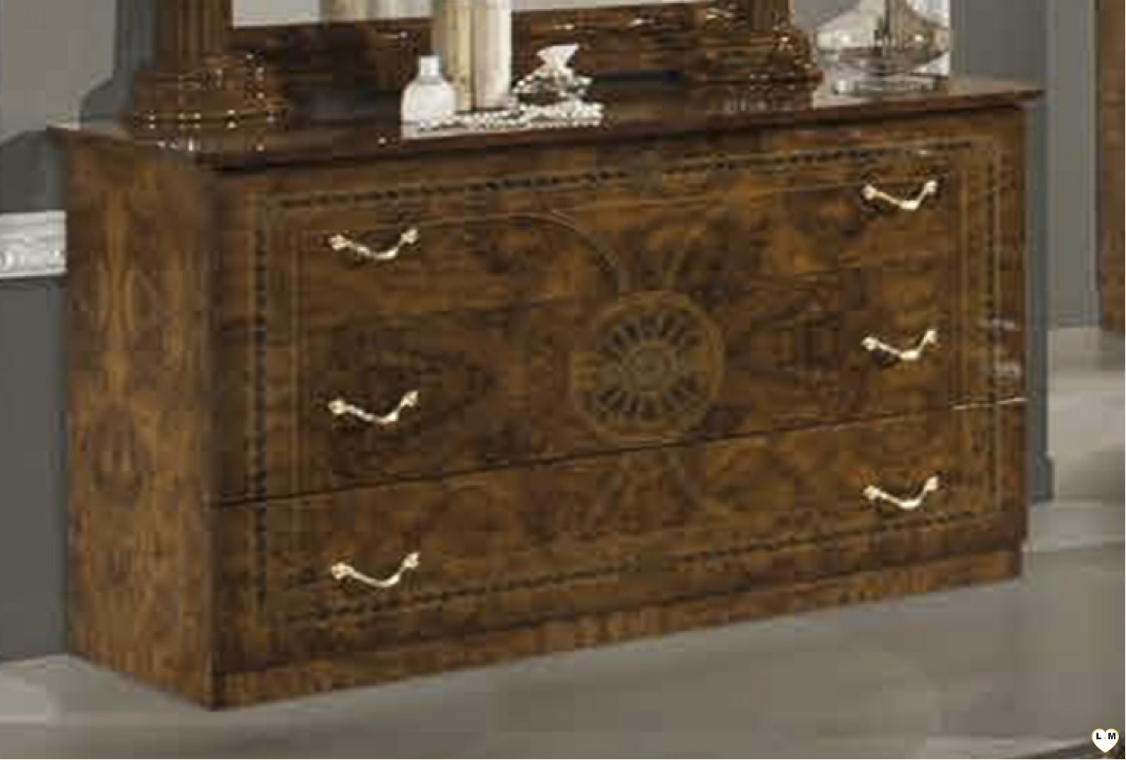 Janeiro laque marron marbre ensemble chambre a coucher for Ensemble lit armoire commode