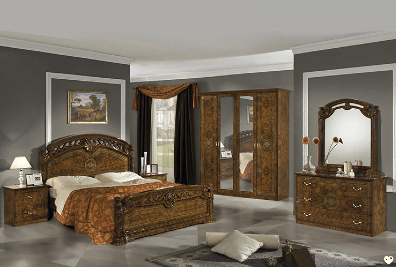 janeiro laque marron marbre ensemble chambre a coucher lignemeuble com. Black Bedroom Furniture Sets. Home Design Ideas