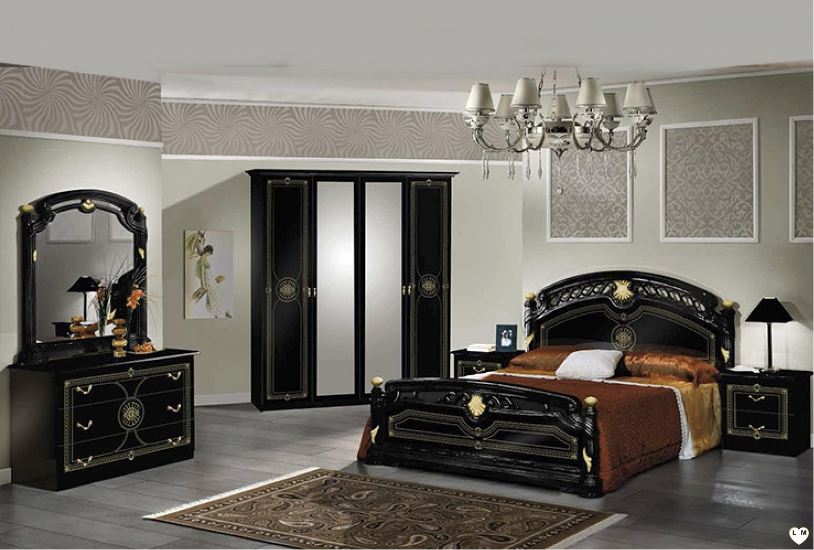 Janeiro laque noir et dore ensemble chambre a coucher for Ensemble de chambre a coucher pas cher