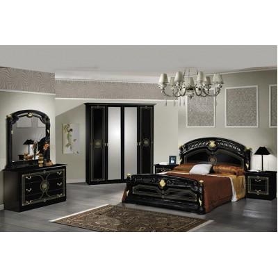 Janeiro laque noir et dore ensemble chambre a coucher for Ensemble de chambre a coucher complet
