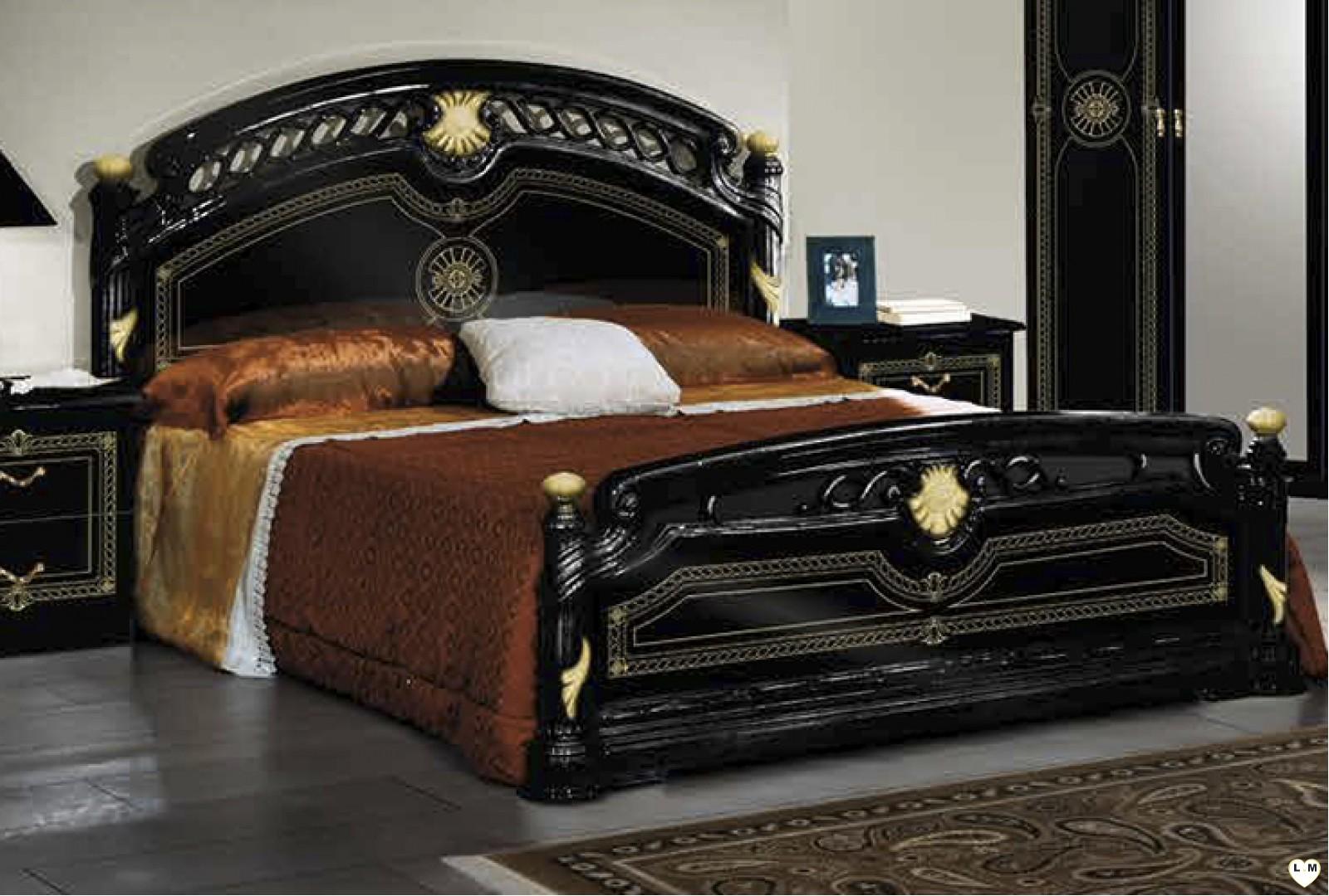 Janeiro laque noir et dore ensemble chambre a coucher for Ensemble de meubles chambre a coucher