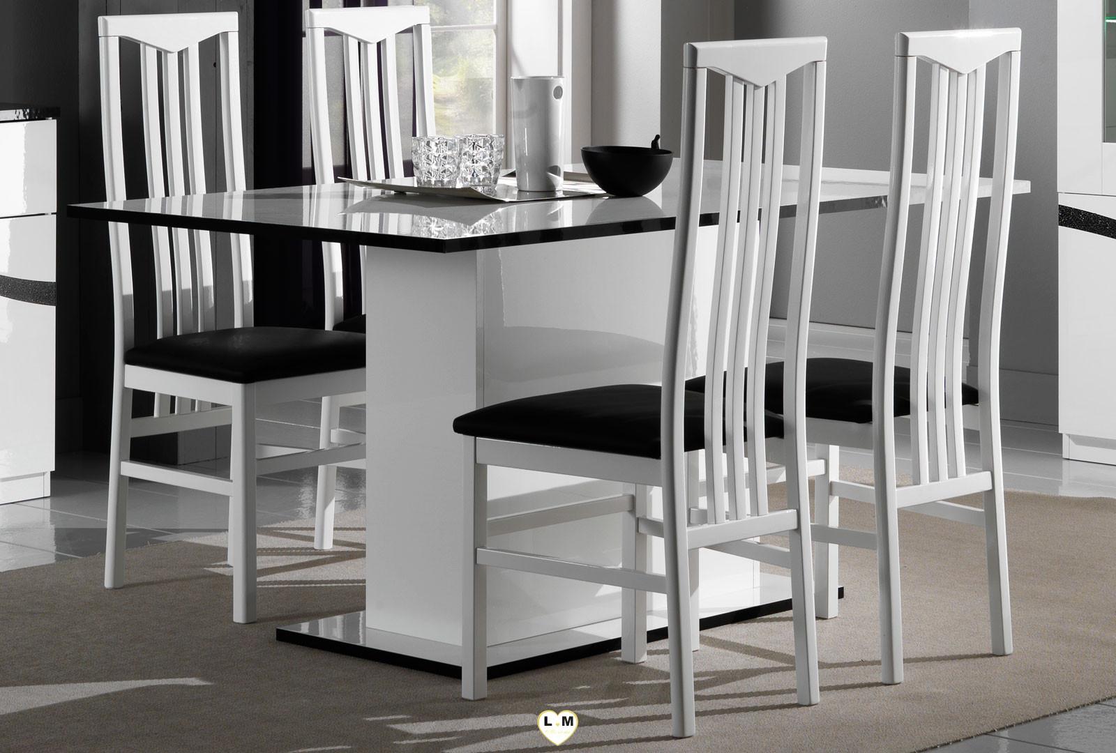 Amazonie laque blanc et noir sejour salle a manger design - Table salle a manger design blanc laque ...
