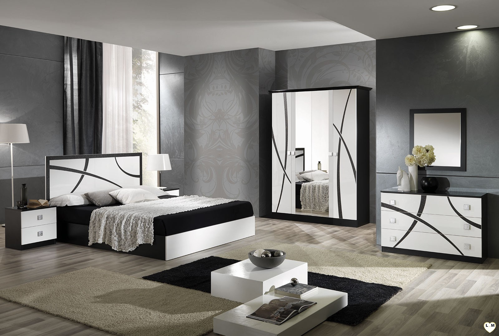 stunning chambre blanc et noir images. Black Bedroom Furniture Sets. Home Design Ideas