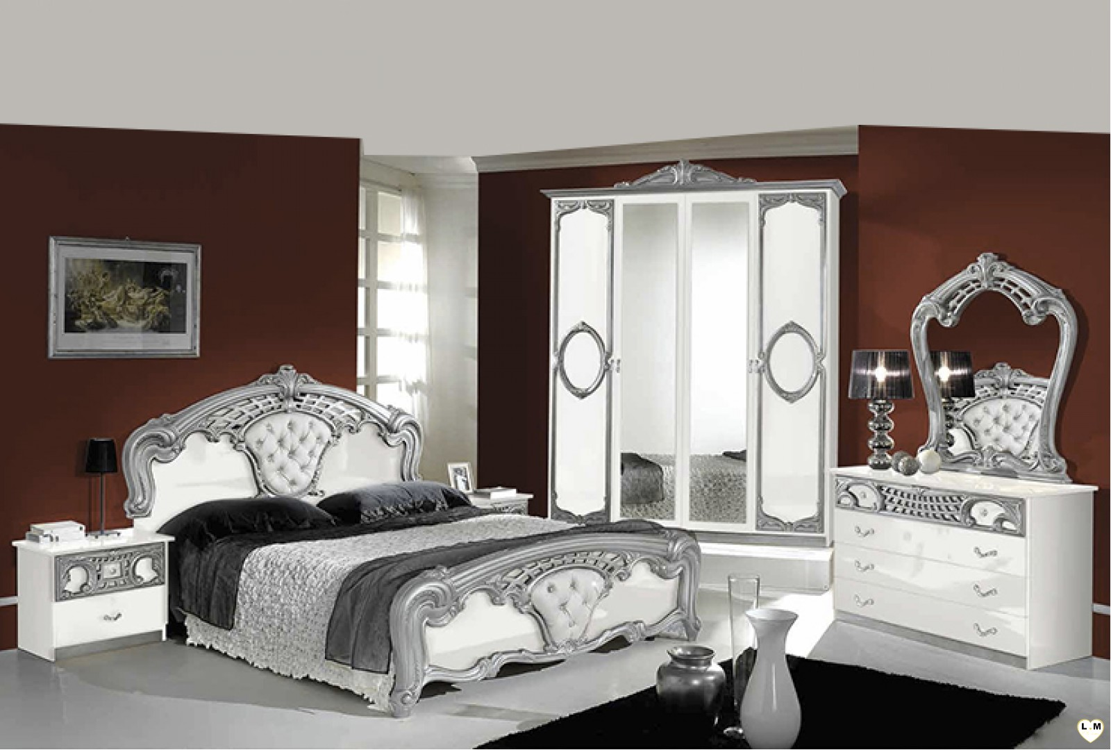 Perfect natal laqu blanc et argent ensemble chambre for Chambre adulte complete romantica