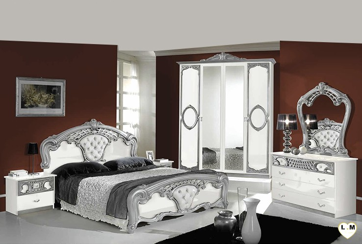 Gallery Of Natal Laqu Blanc Et Argent Ensemble Chambre Coucher With Chambre A Coucher Moderne