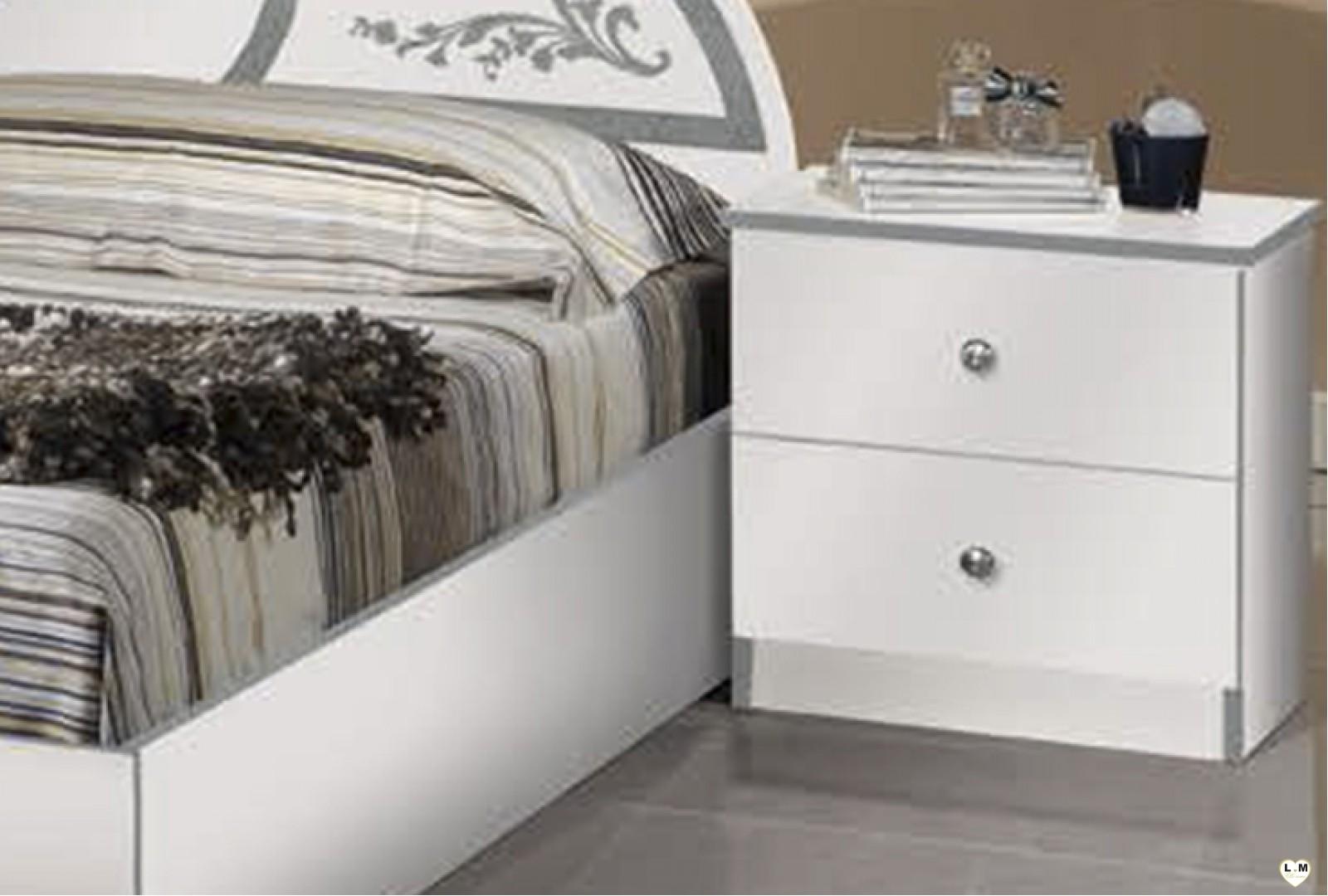 Olinda laque blanc et argent ensemble chambre a coucher for Chambre a coucher ensemble