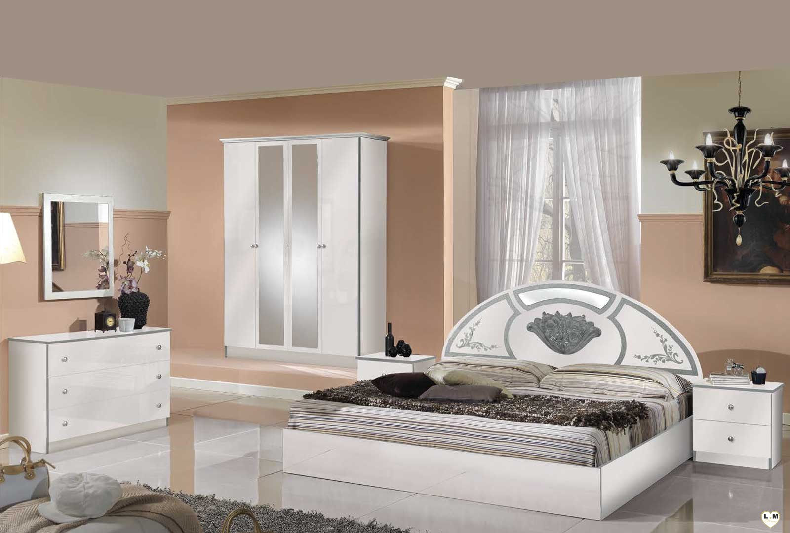 simple olinda laque blanc et argent ensemble chambre a coucher with chambre a coucher complete. Black Bedroom Furniture Sets. Home Design Ideas