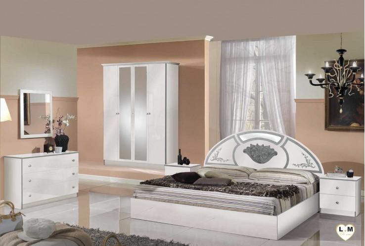 Olinda laque blanc et argent ensemble chambre a coucher for Ensemble de chambre a coucher complet