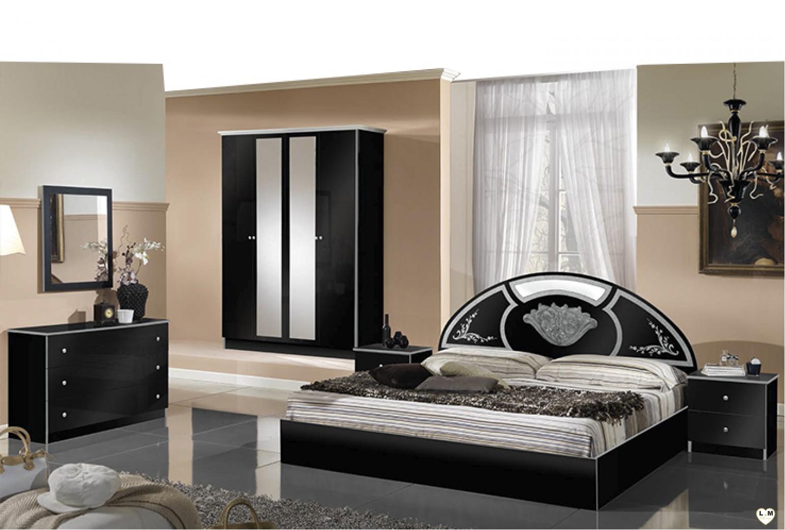 olinda laque noir et argent ensemble chambre a coucher lignemeuble com. Black Bedroom Furniture Sets. Home Design Ideas