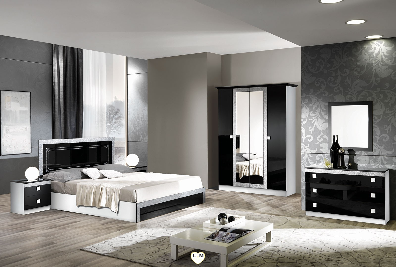 brazilia laque noir et blanc ensemble chambre a coucher. Black Bedroom Furniture Sets. Home Design Ideas