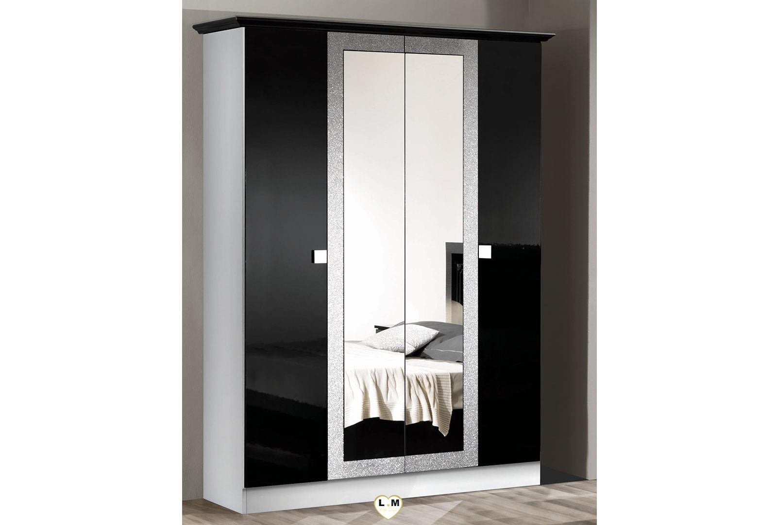 brazilia laque noir et blanc ensemble chambre a coucher