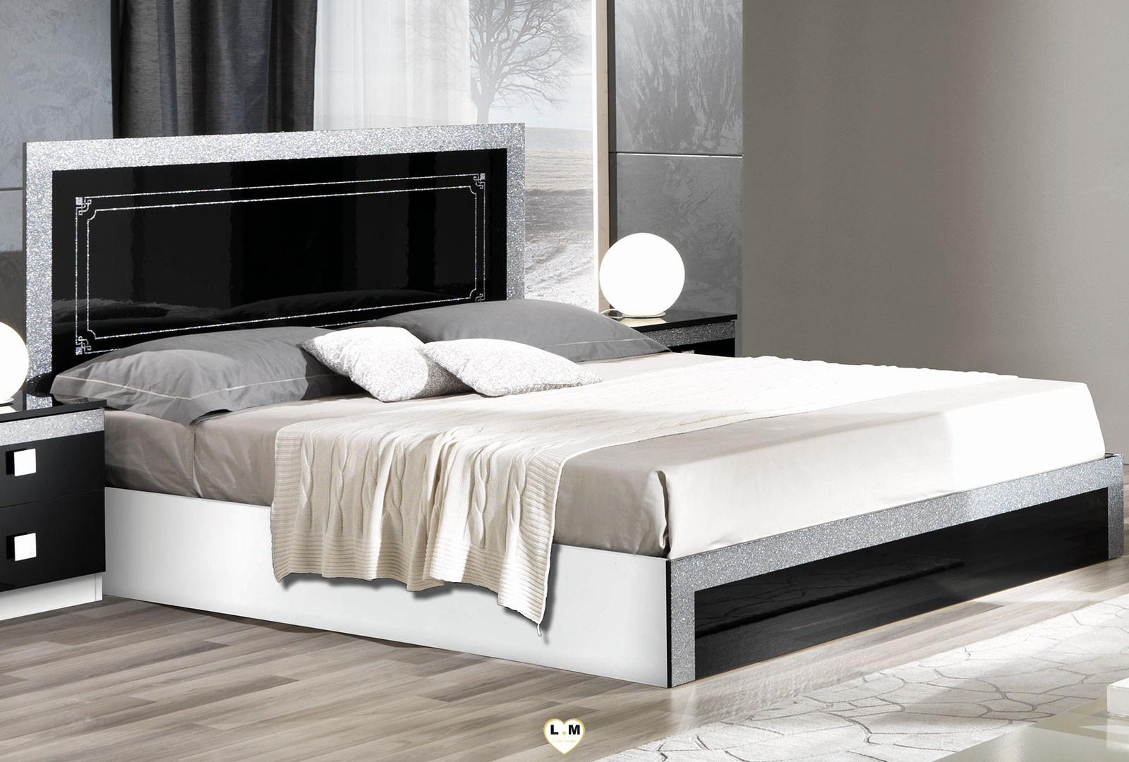 brazilia laque noir et blanc ensemble chambre a coucher lignemeuble com. Black Bedroom Furniture Sets. Home Design Ideas