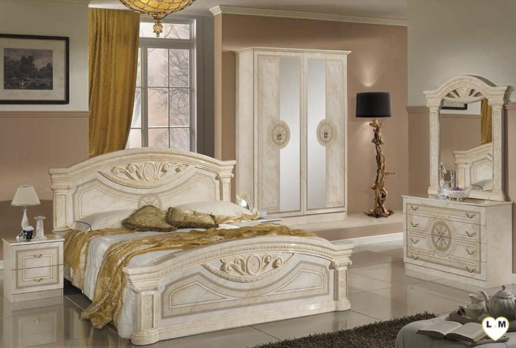 Cool recife laque ivoire marbre ensemble chambre a coucher for Ensemble de chambre a coucher pas cher