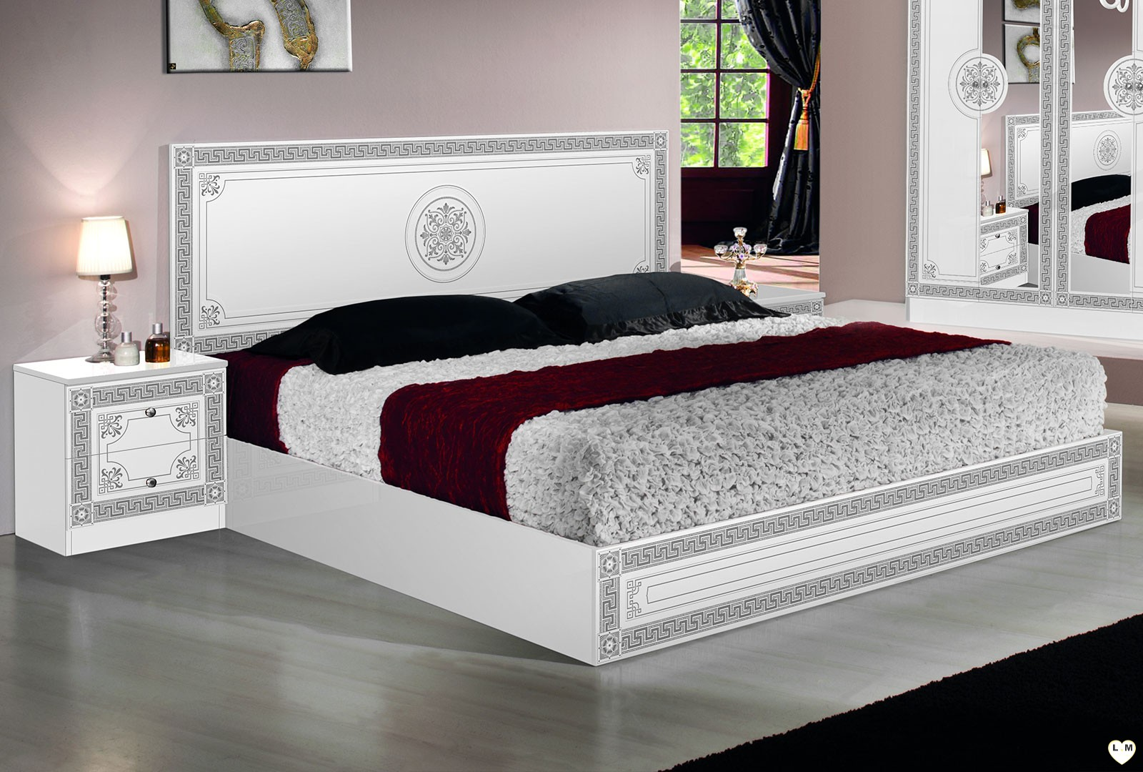 rio laque blanc et argent ensemble chambre a coucher lignemeuble com. Black Bedroom Furniture Sets. Home Design Ideas