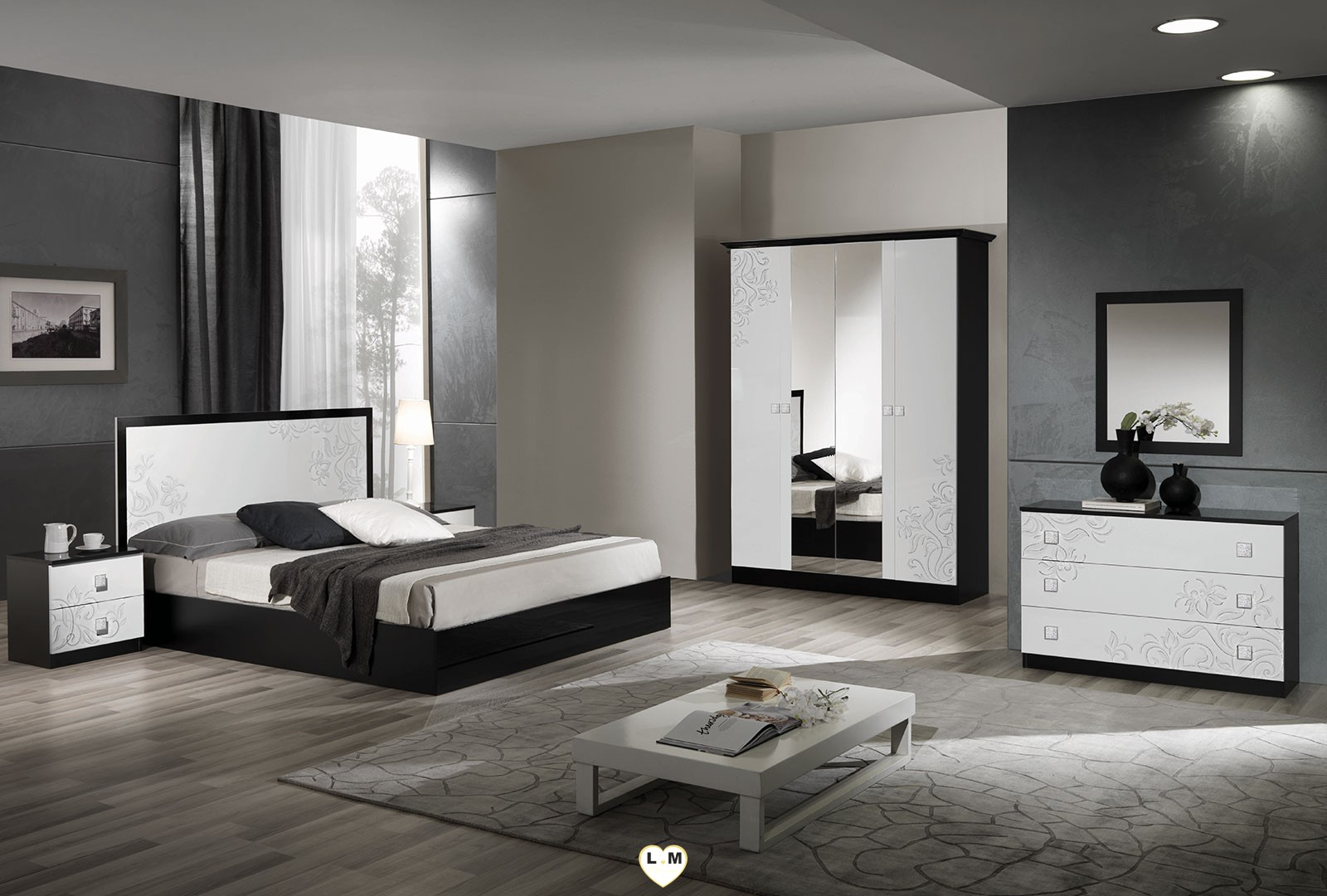 chambre noir et blanc fashion designs. Black Bedroom Furniture Sets. Home Design Ideas