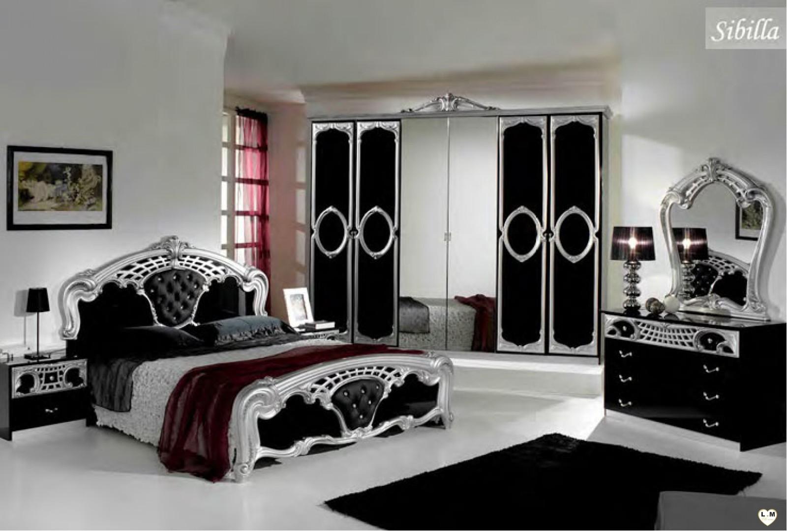 Sibilla 6 portes noir et argent ensemble chambre a coucher - Italienisches schlafzimmer ...