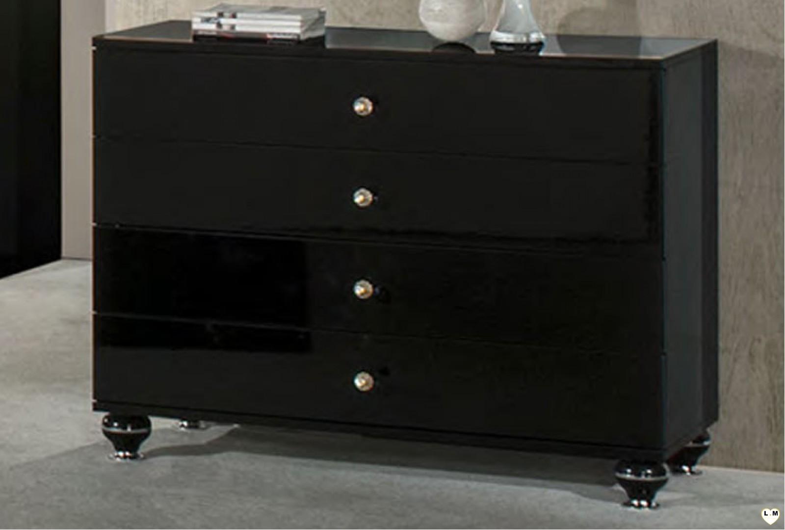 Tiffany laque noir ensemble chambre a coucher lignemeuble com for Ensemble armoire commode chambre