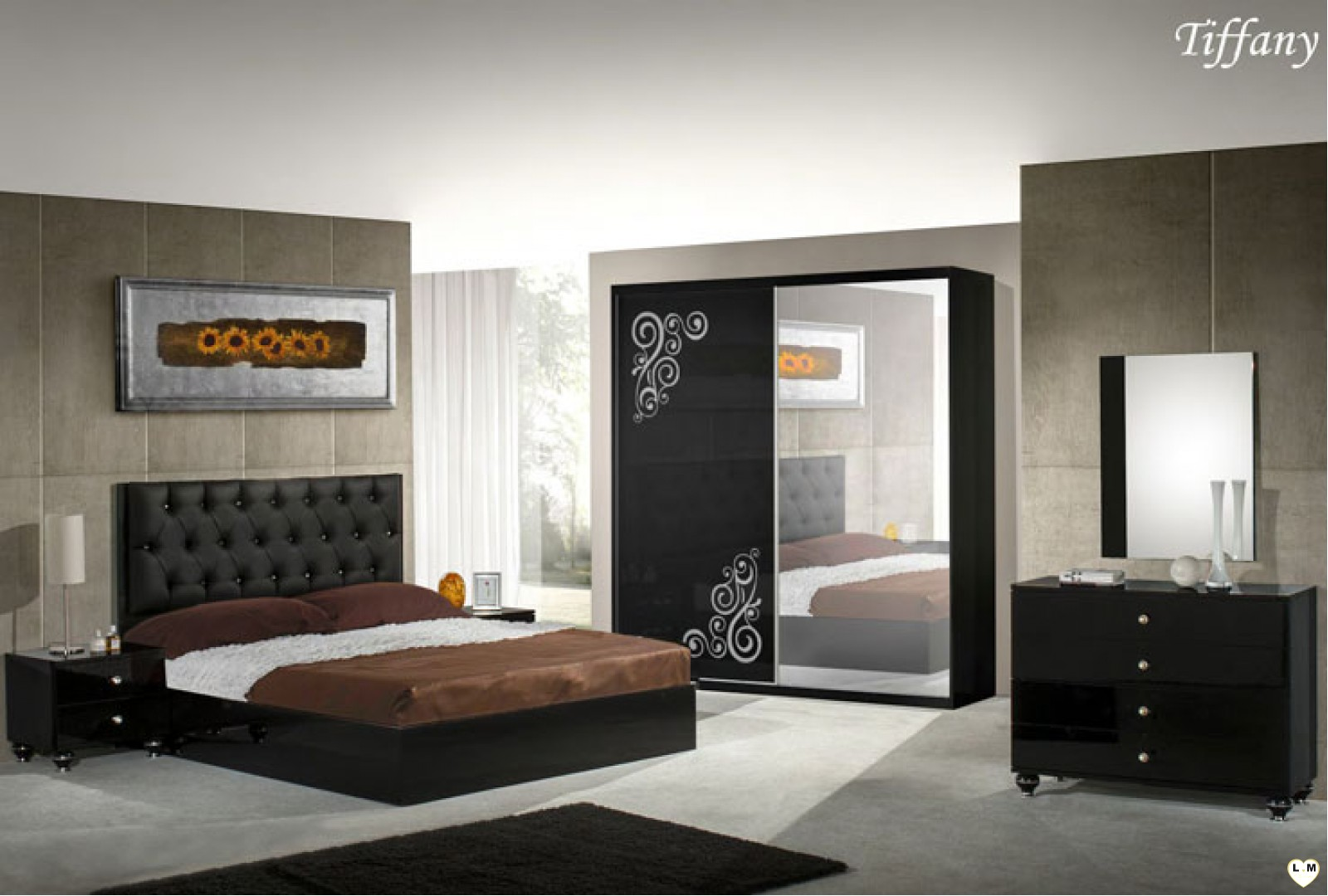 tiffany laque noir ensemble chambre a coucher lignemeuble com. Black Bedroom Furniture Sets. Home Design Ideas