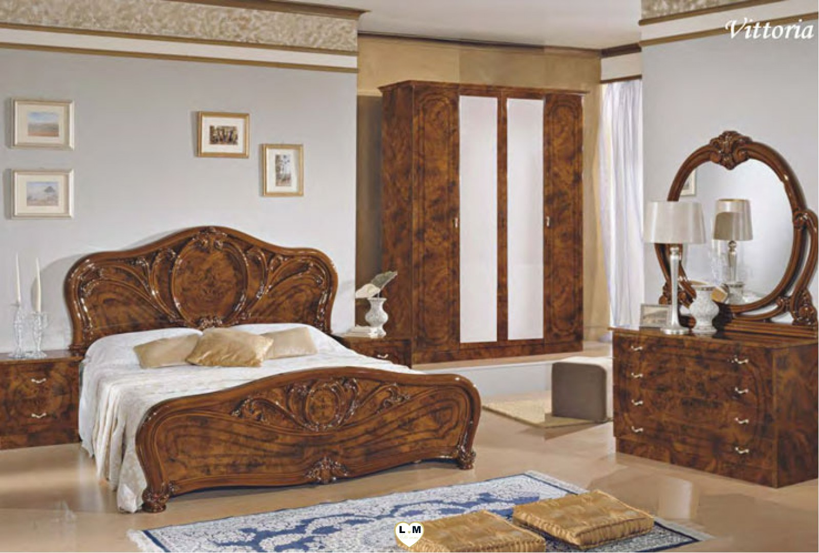 vittoria 4 portes laque noyer nuage ensemble chambre a. Black Bedroom Furniture Sets. Home Design Ideas