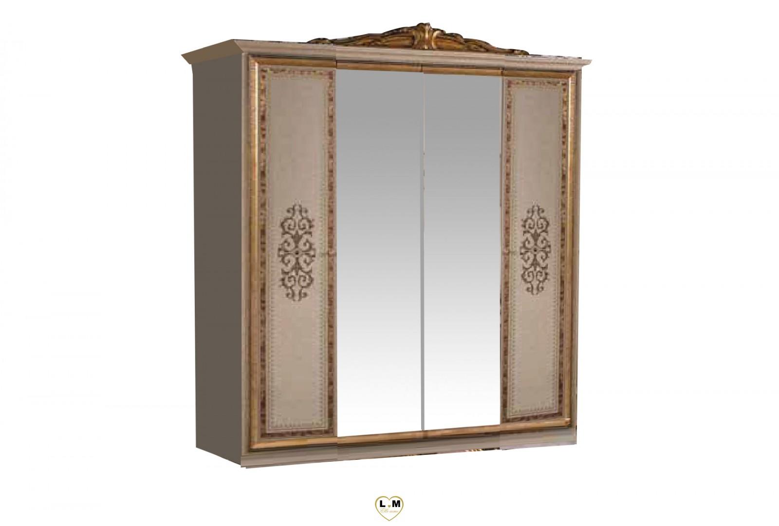 Valentina laque beige dore l 39 ensemble chambre a coucher lignemeuble com for Ensemble armoire commode chambre