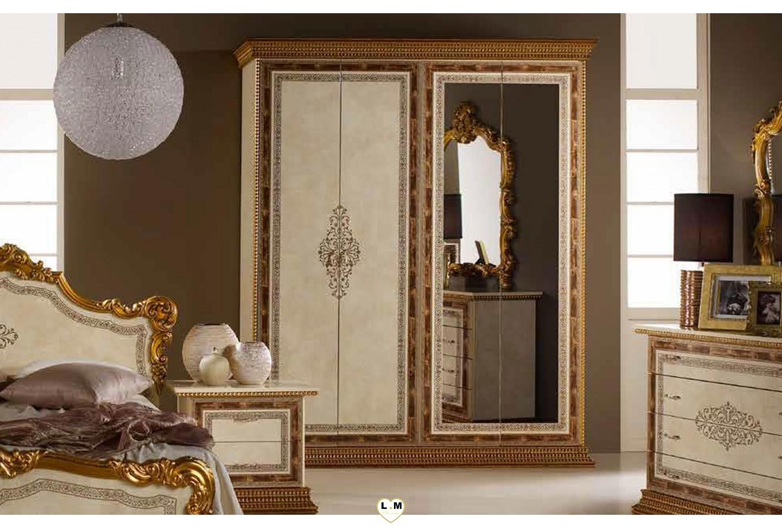 Vincenza laque beige dore l 39 ensemble chambre a coucher for Commande chambre a coucher