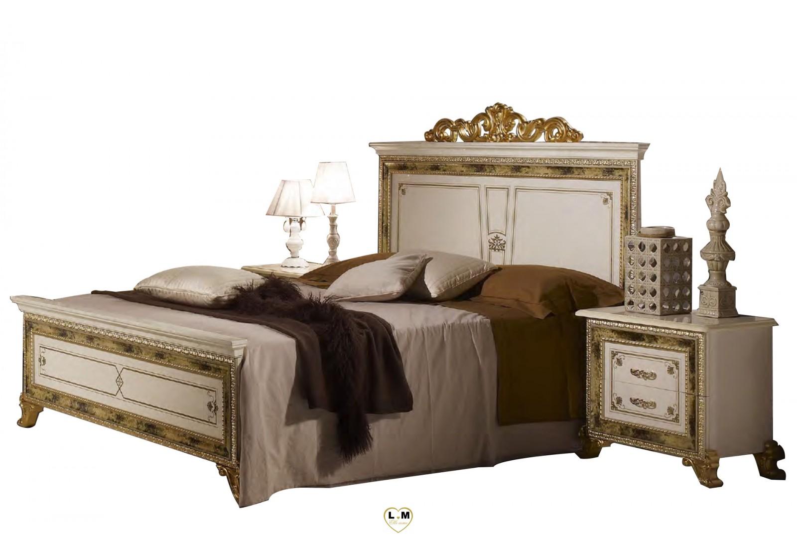 Valeria laque blanc dore l 39 ensemble chambre a coucher for Ensemble de chambre a coucher