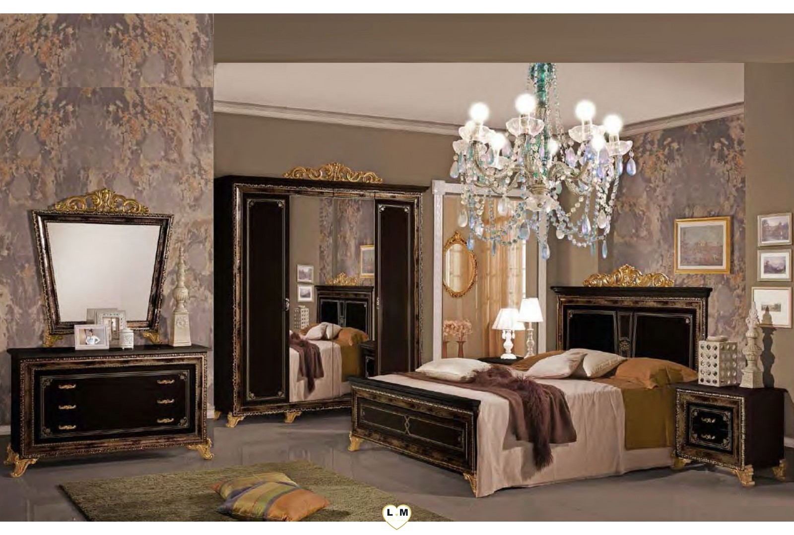 valeria laque noir dore l 39 ensemble chambre a coucher lignemeuble com. Black Bedroom Furniture Sets. Home Design Ideas