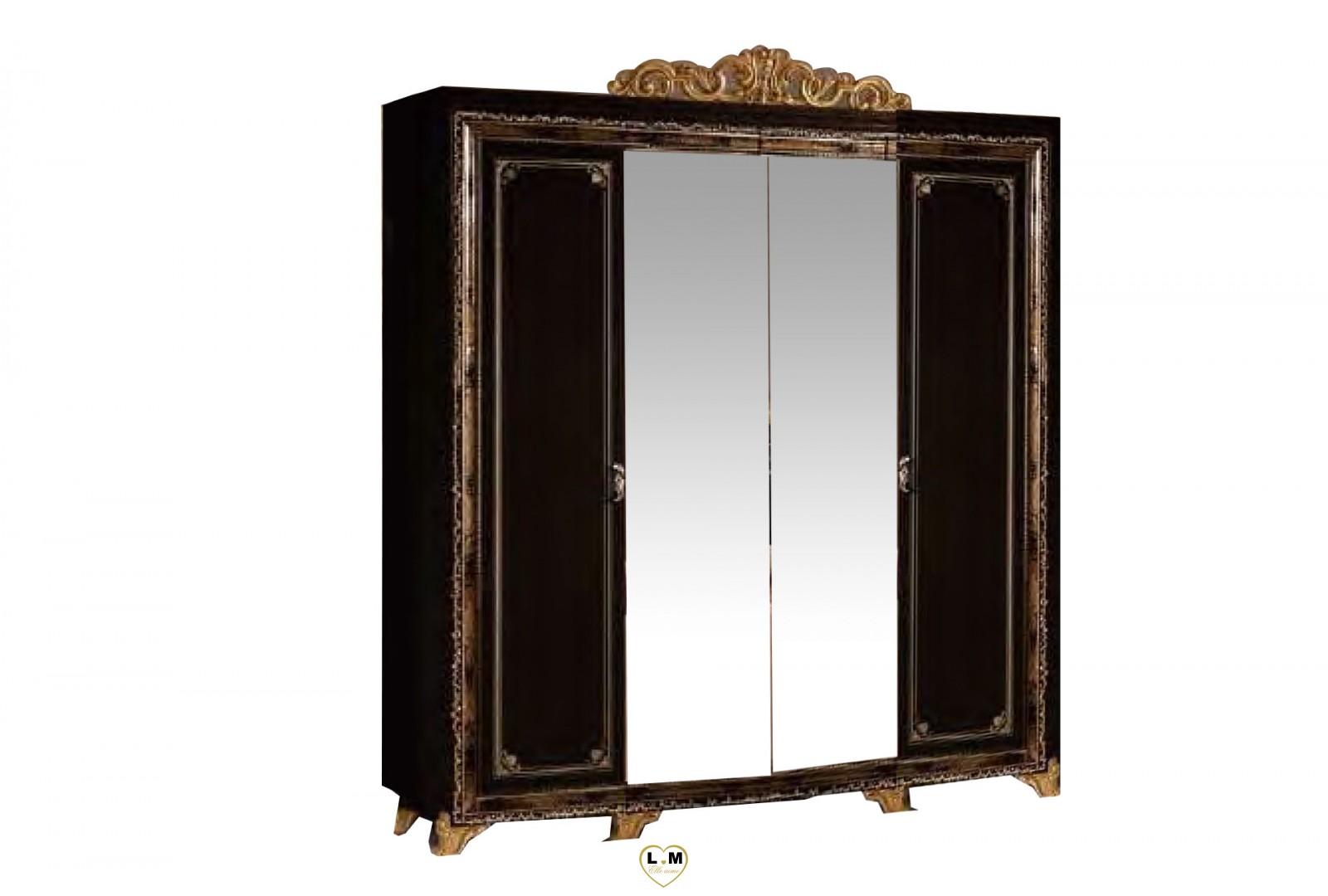 Valeria laque noir dore l 39 ensemble chambre a coucher for Ensemble lit armoire commode