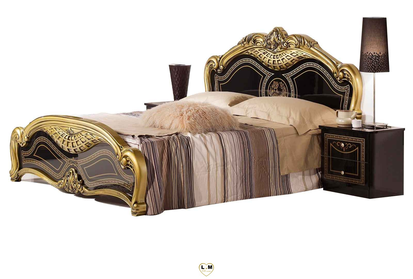 valda laque noir dore l 39 ensemble chambre a coucher lignemeuble com. Black Bedroom Furniture Sets. Home Design Ideas