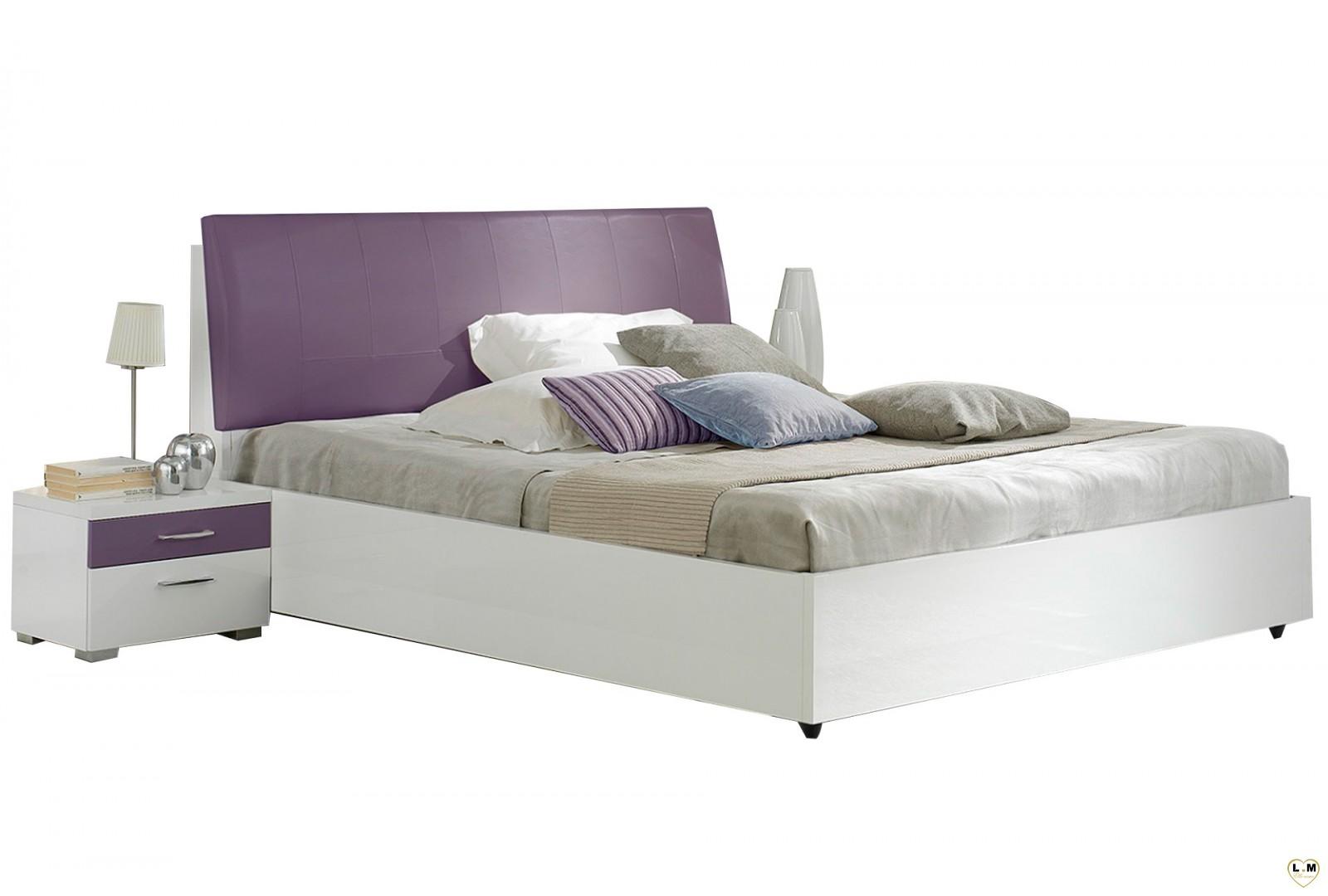 Veronica laque violet et blanc ensemble chambre a coucher for Lit et chambre a coucher