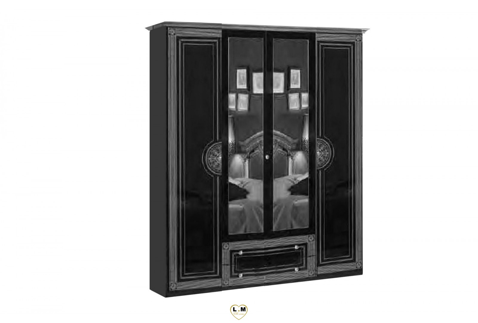 venera laque noir argent l 39 ensemble chambre a coucher. Black Bedroom Furniture Sets. Home Design Ideas